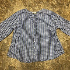 Avenue Blue White Checkered Button Front Blouse